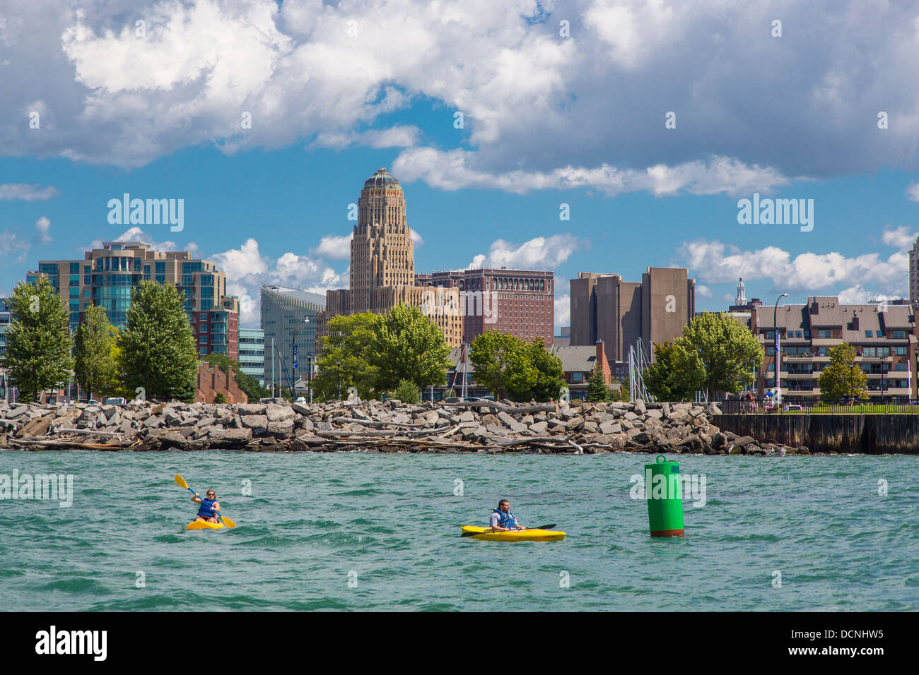 Kayakers in Lake Erie and the skyline of Buffalo New York United States - Stock Image