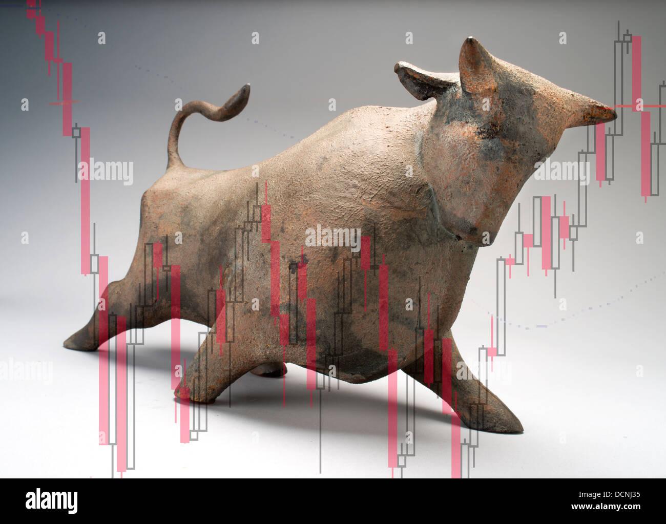 wall street bull - Stock Image