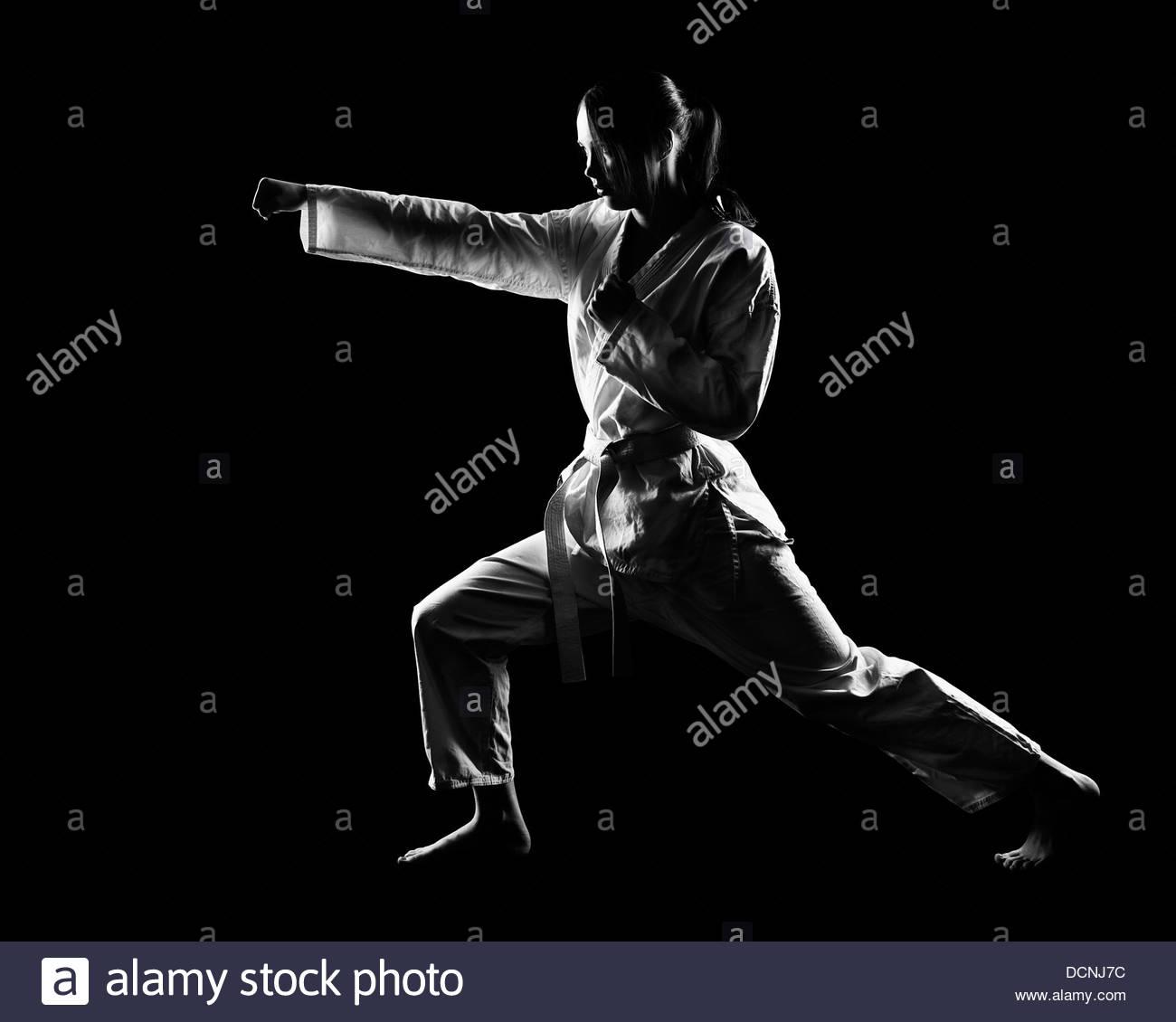 karate girl - Stock Image