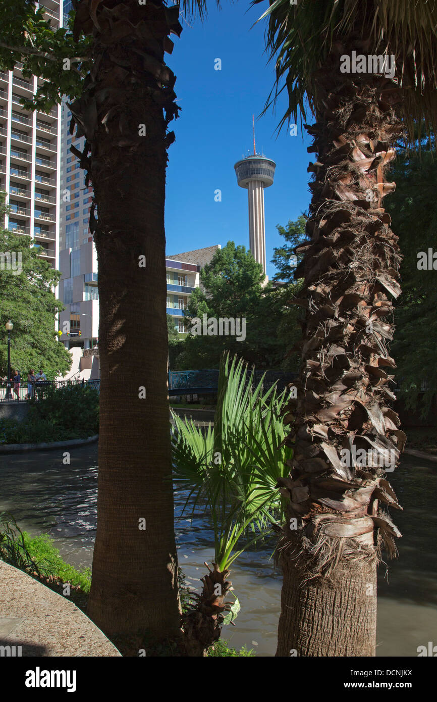 San Antonio, Texas - The Tower of the Americas, with the San Antonio River in the foreground. - Stock Image