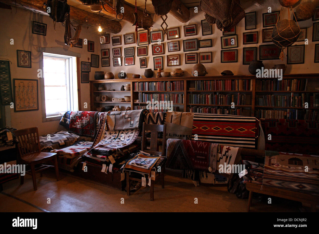 Trading post, Textile, - Stock Image