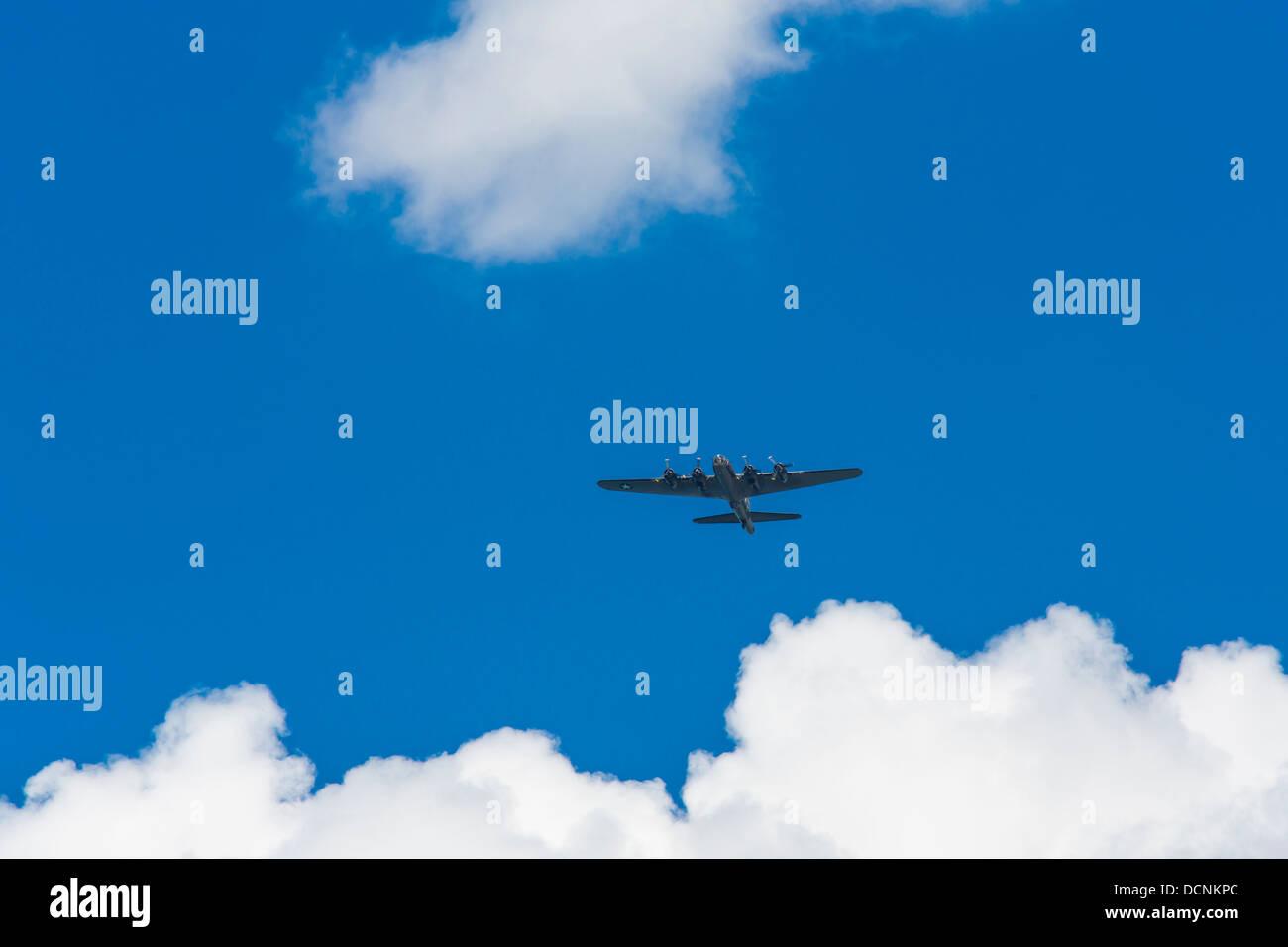 Boeing B-17 Flying Fortress World War II bomber flying over Buffalo New York United States Stock Photo