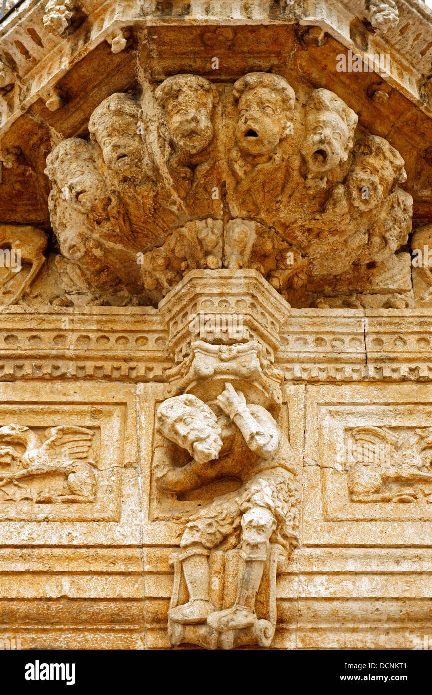 Detail of the facade of the 16th century Casa de Montejo on Plaza Grande, Merida, Yucatan, Mexico Stock Photo