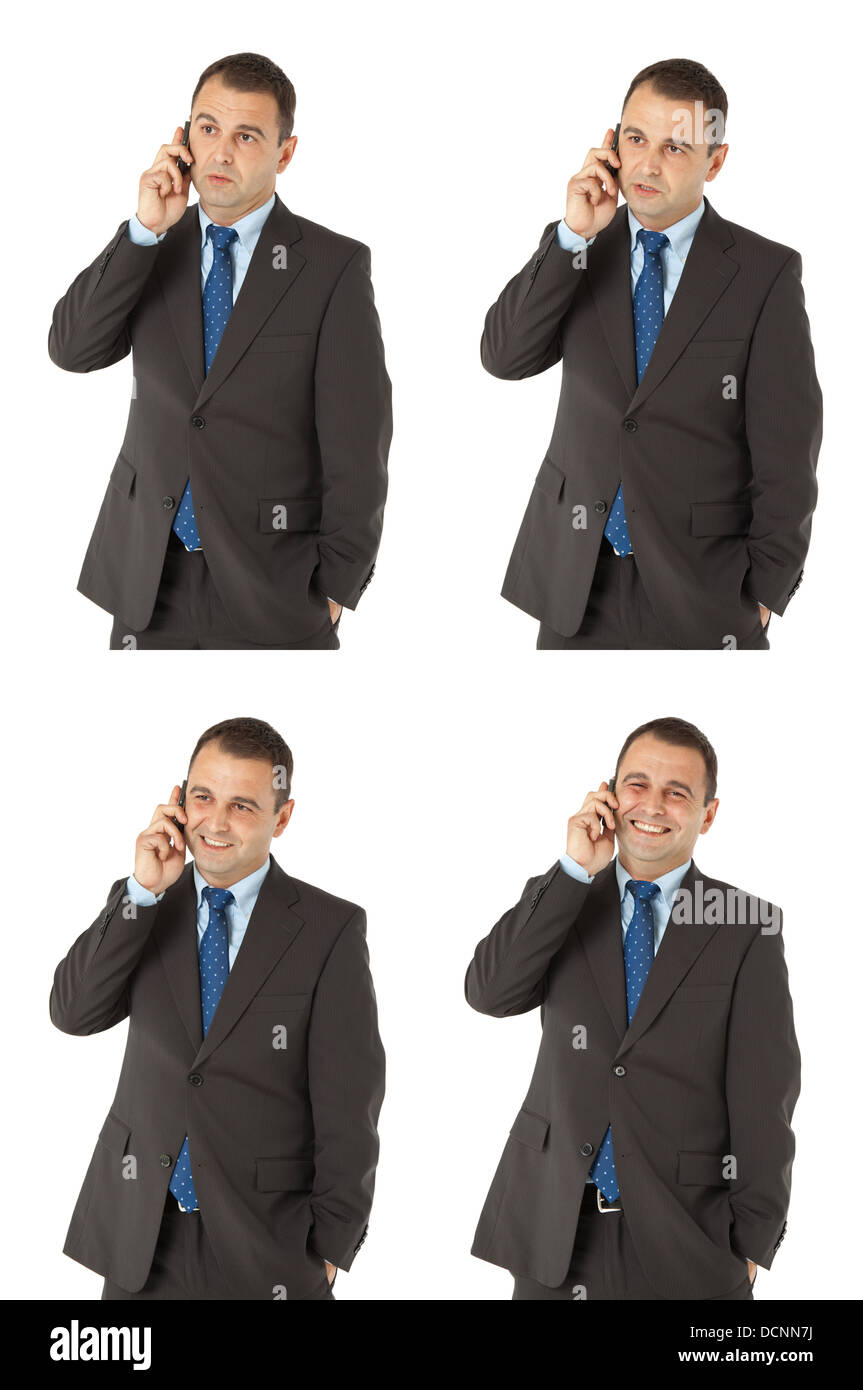 Businessman talking on the phone different expressions - Stock Image