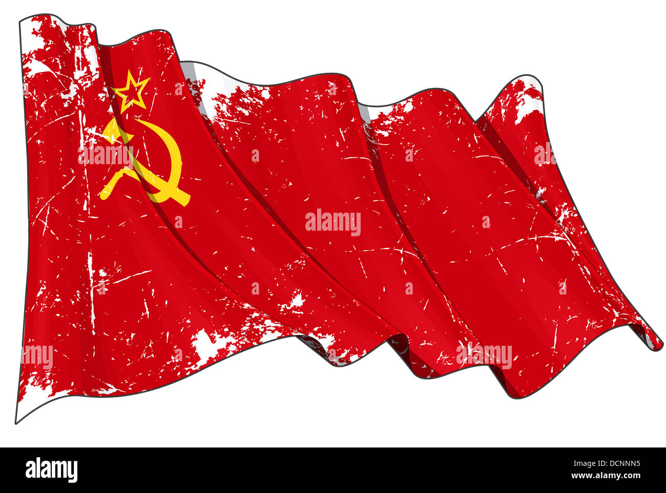 Soviet Union flag Scratched - Stock Image