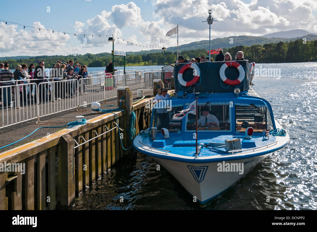 Great Britain, England, Cumbria, Lake District, Lake Windermere, tour boat Miss Cumbria IV at Ambleside Pier - Stock Image