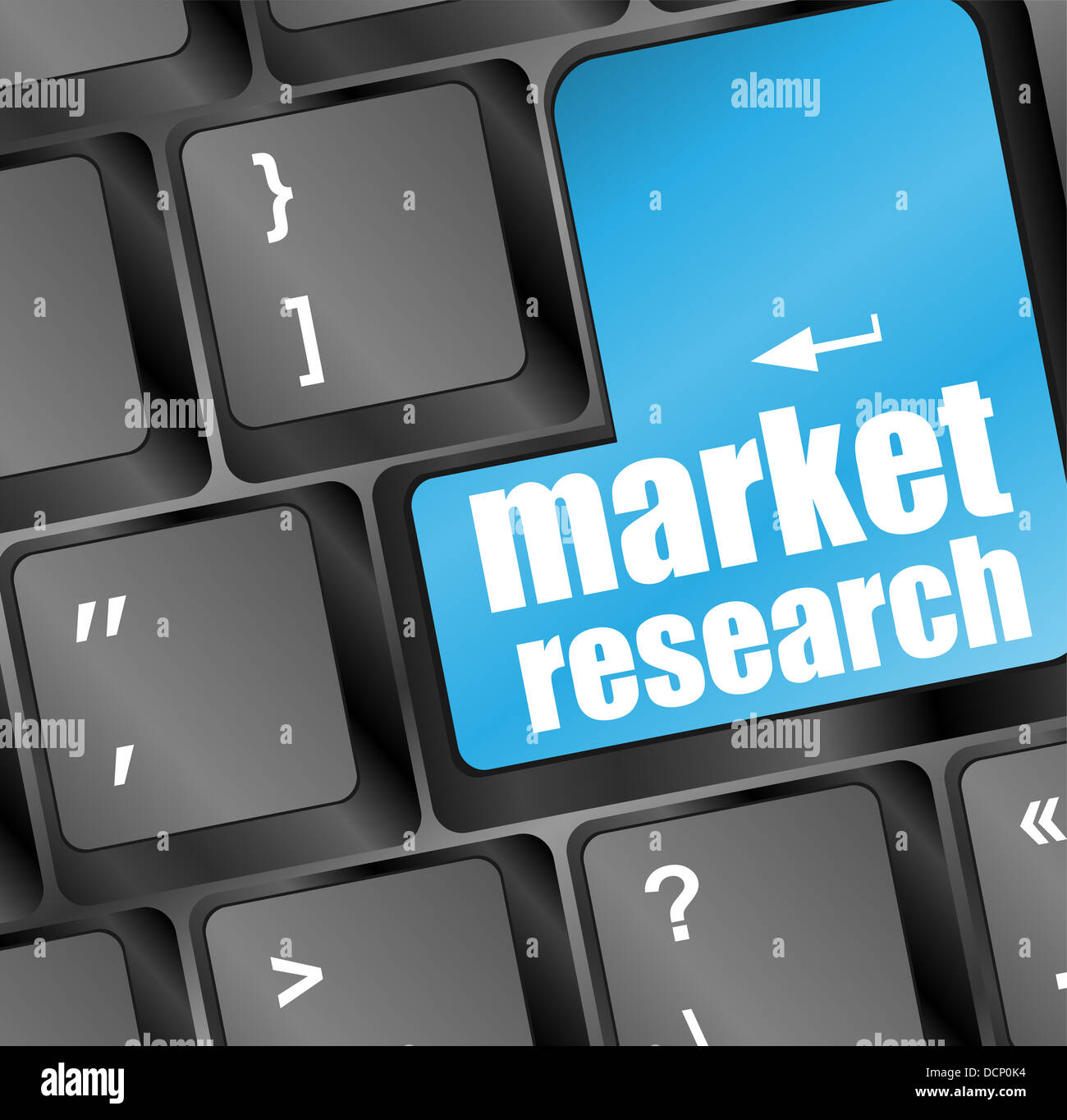 Blue key with market research text on laptop keyboard Stock Photo