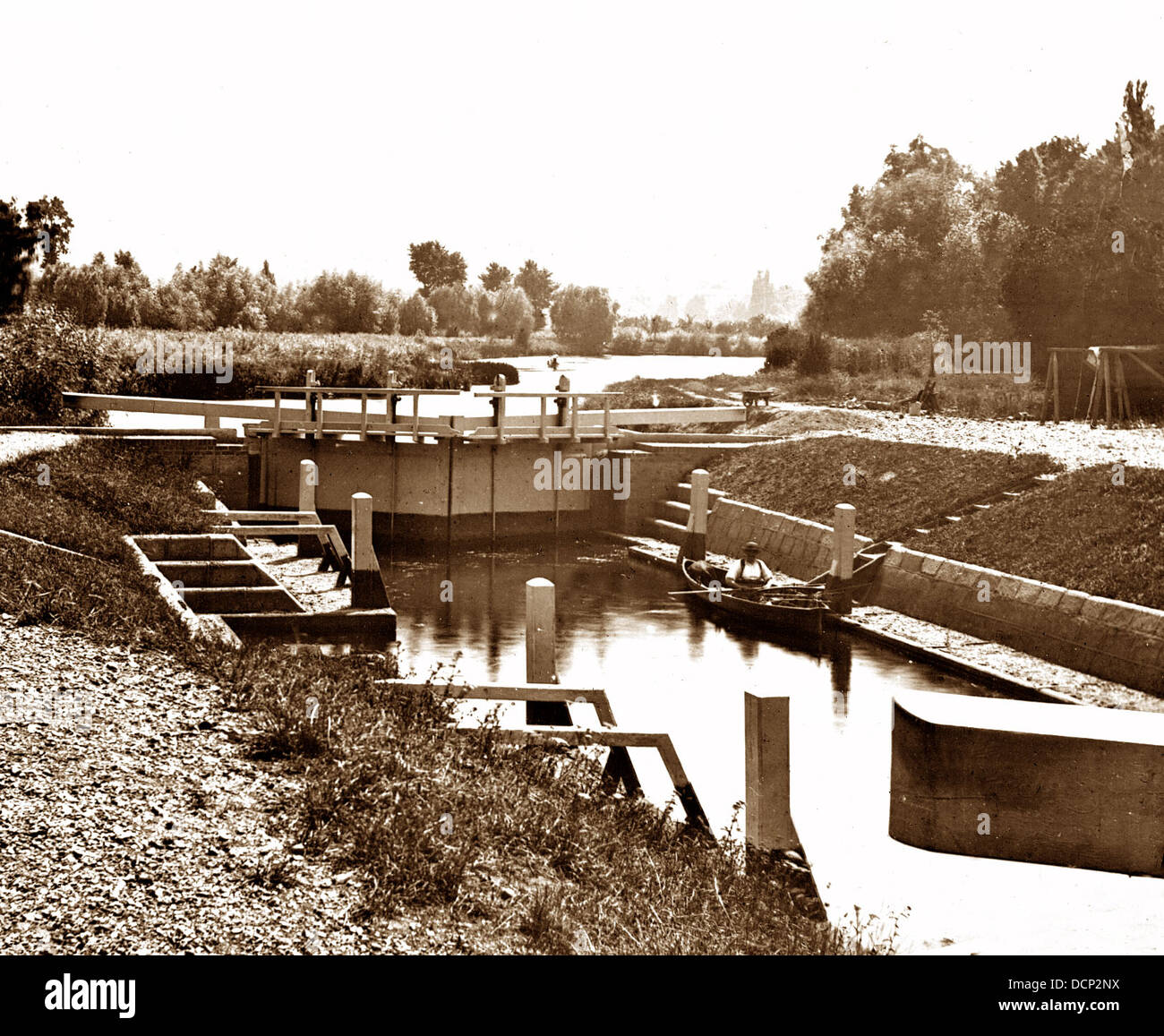 Old Windsor Lock River Thames Victorian period Stock Photo