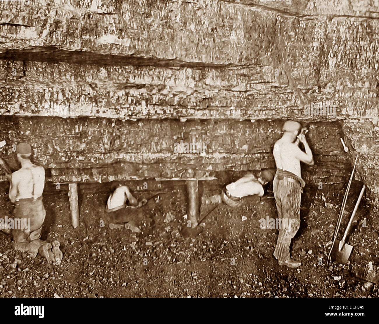 Miners at the Coal Face Victorian period - Stock Image