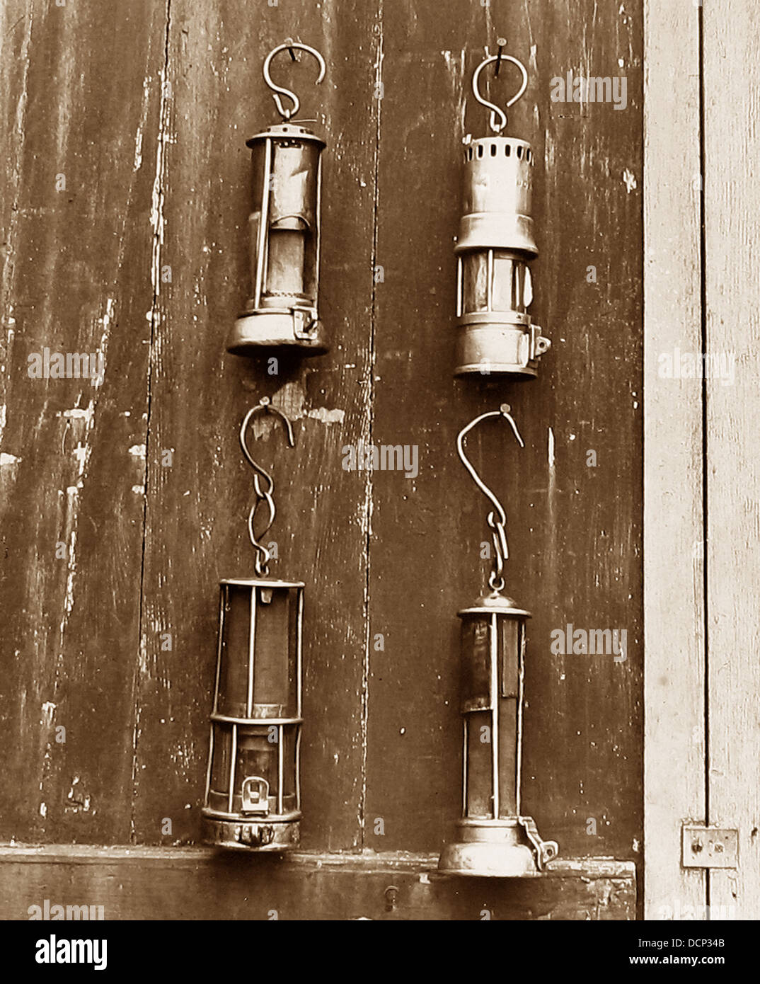 Miners safety lamps Victorian period - Stock Image