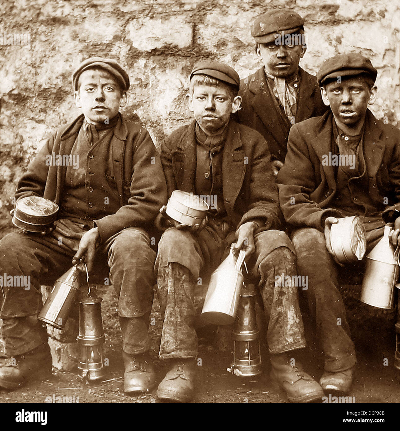 Young Coal Miners early 1900s - Stock Image