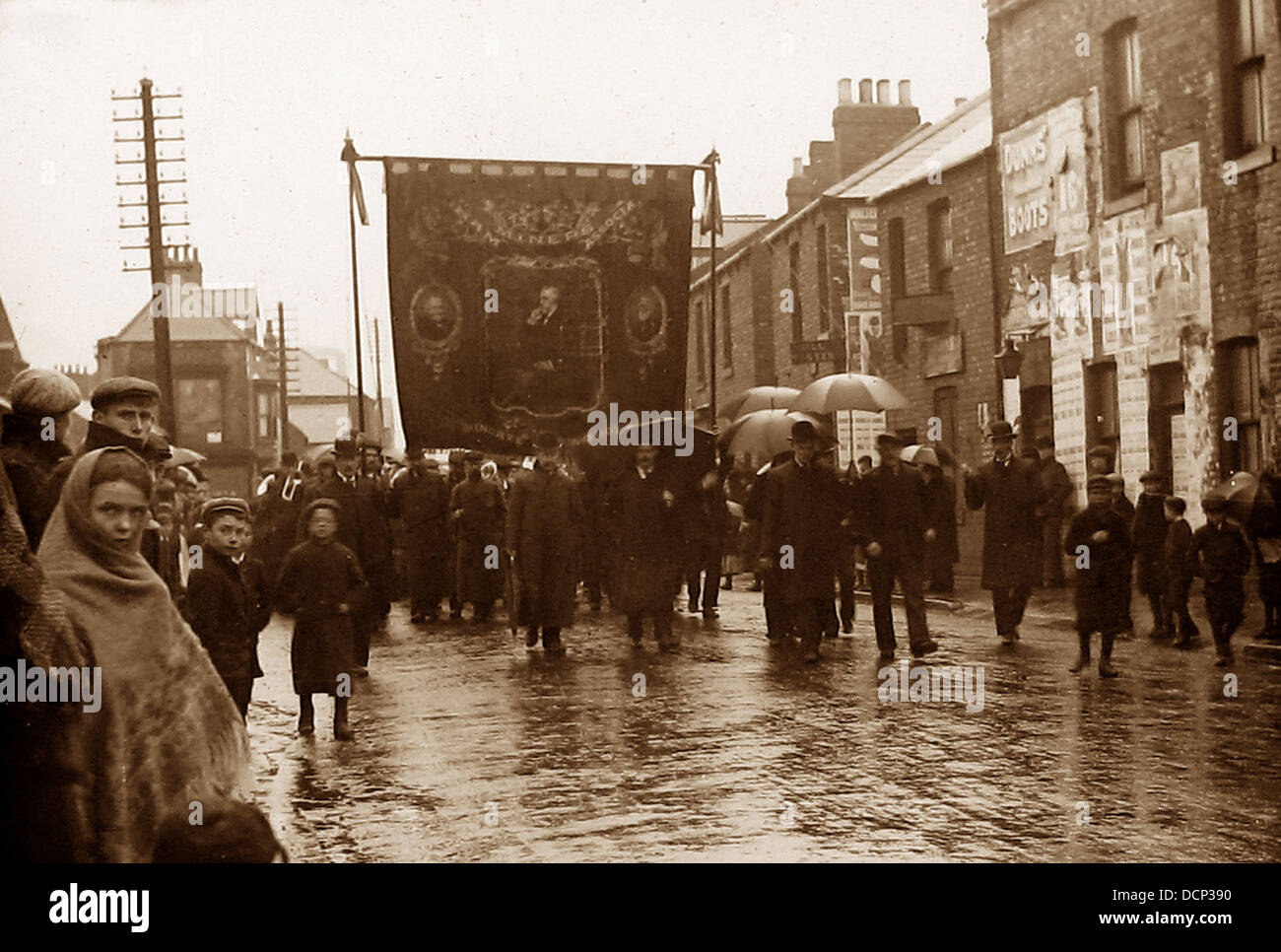 Miners' Gala Parade early 1900s - Stock Image