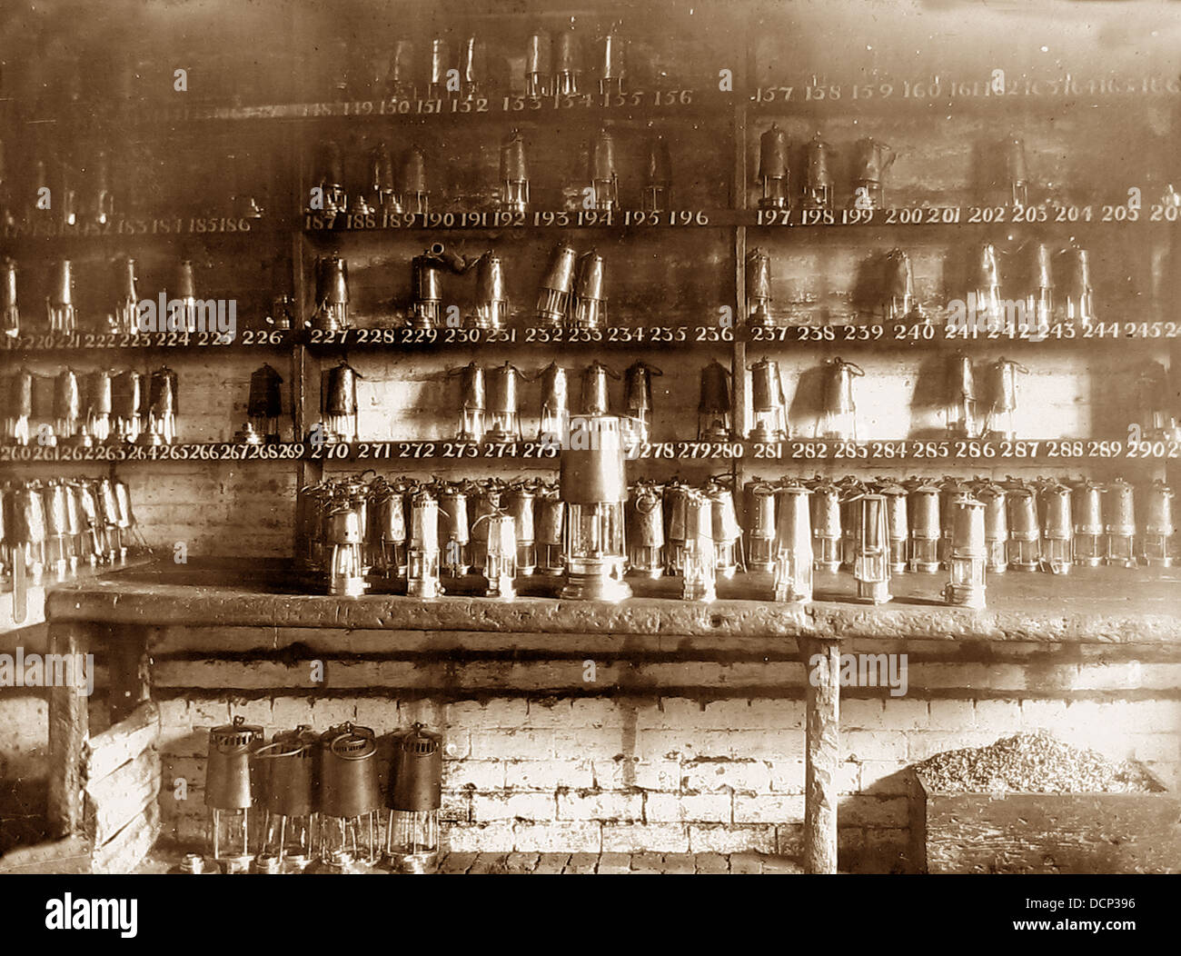 Colliery lamp room Victorian period - Stock Image
