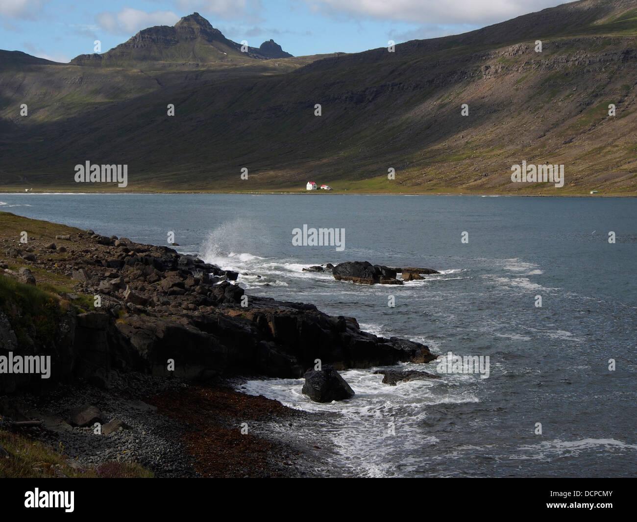 Bay, Viðfjörður, East fjords, Iceland - Stock Image