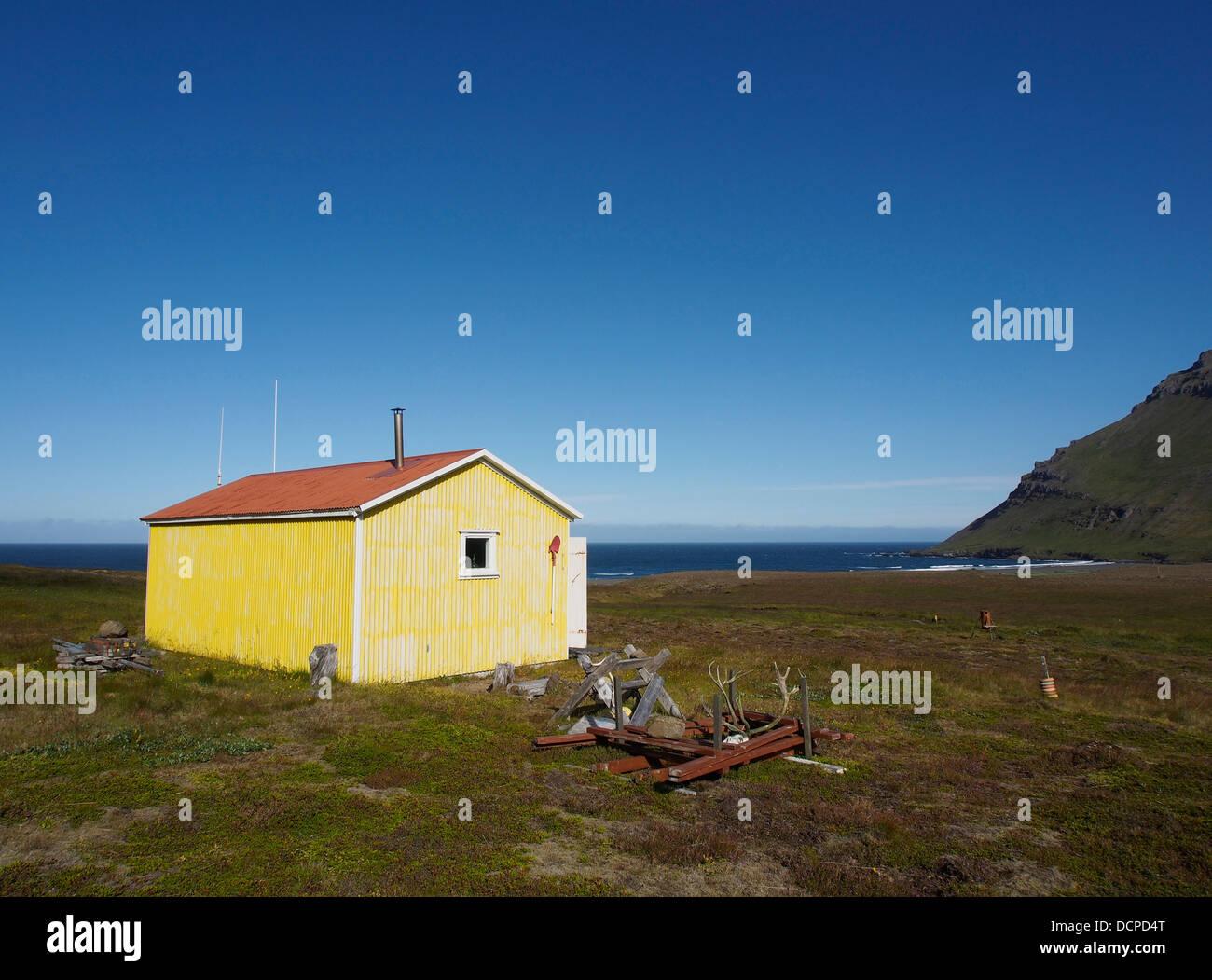 Emergency hut, Sandvík, Iceland - Stock Image