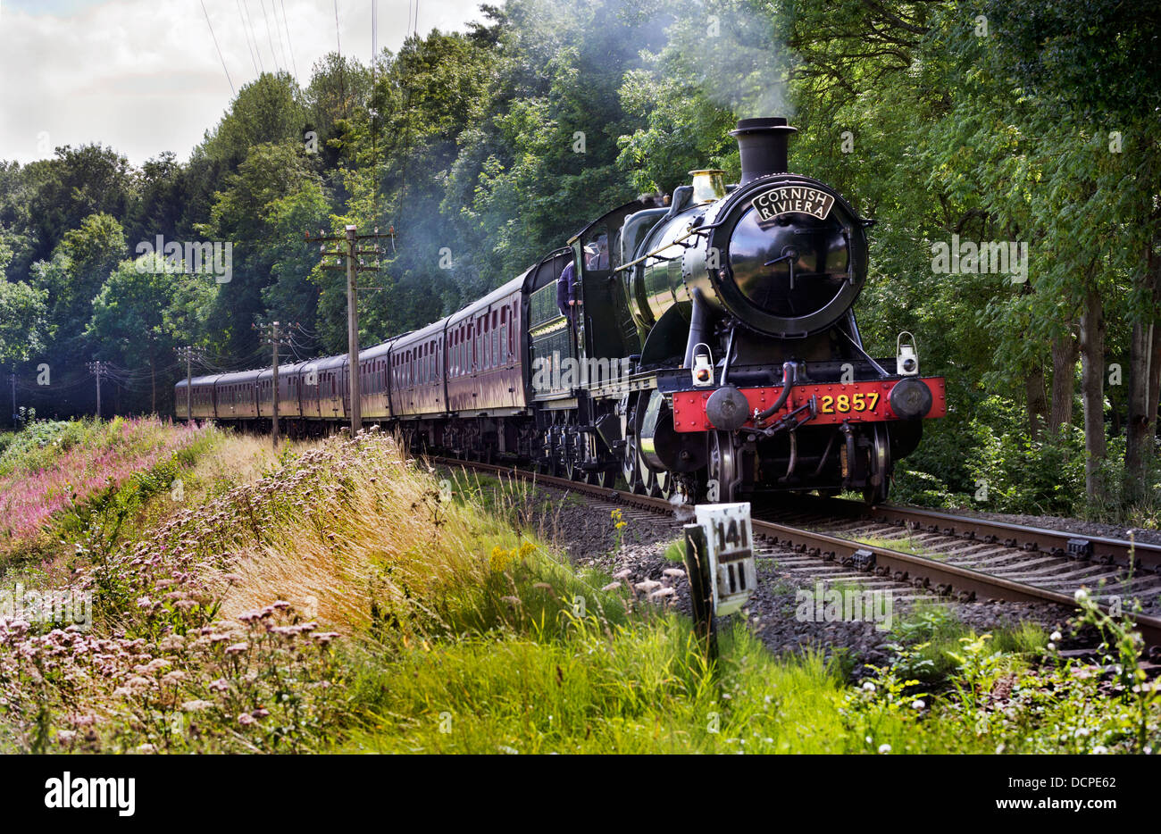 GWR locomotive No 2857 leaves Arley for Bridgnorth,on a Summer's day on the Severn Valley Railway, Worcestershire, - Stock Image