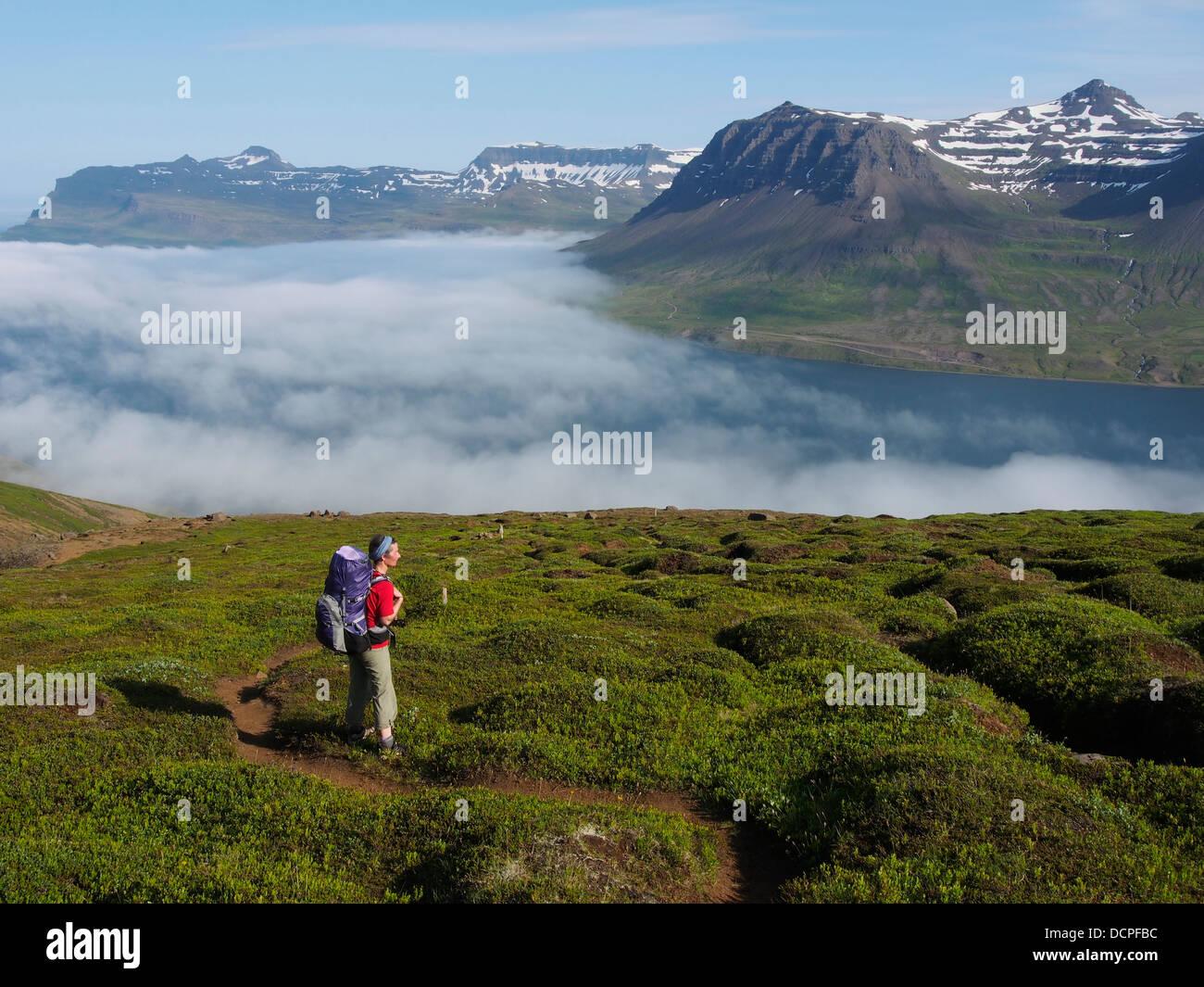Hiking, Krakaskard, above Seydisfjörður, Iceland - Stock Image