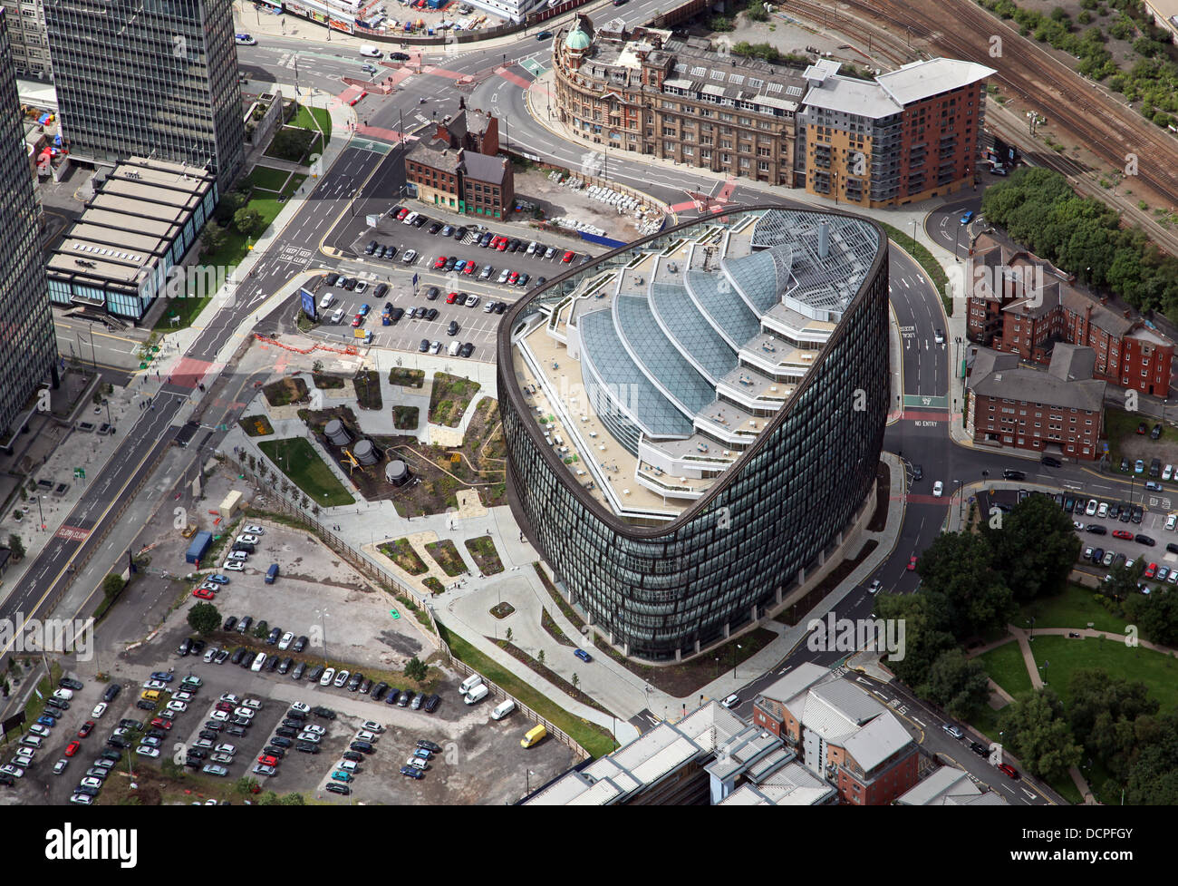 aerial view of One Angel Square in Manchester city centre, home of CoOperative Group, Co-op HQ - Stock Image