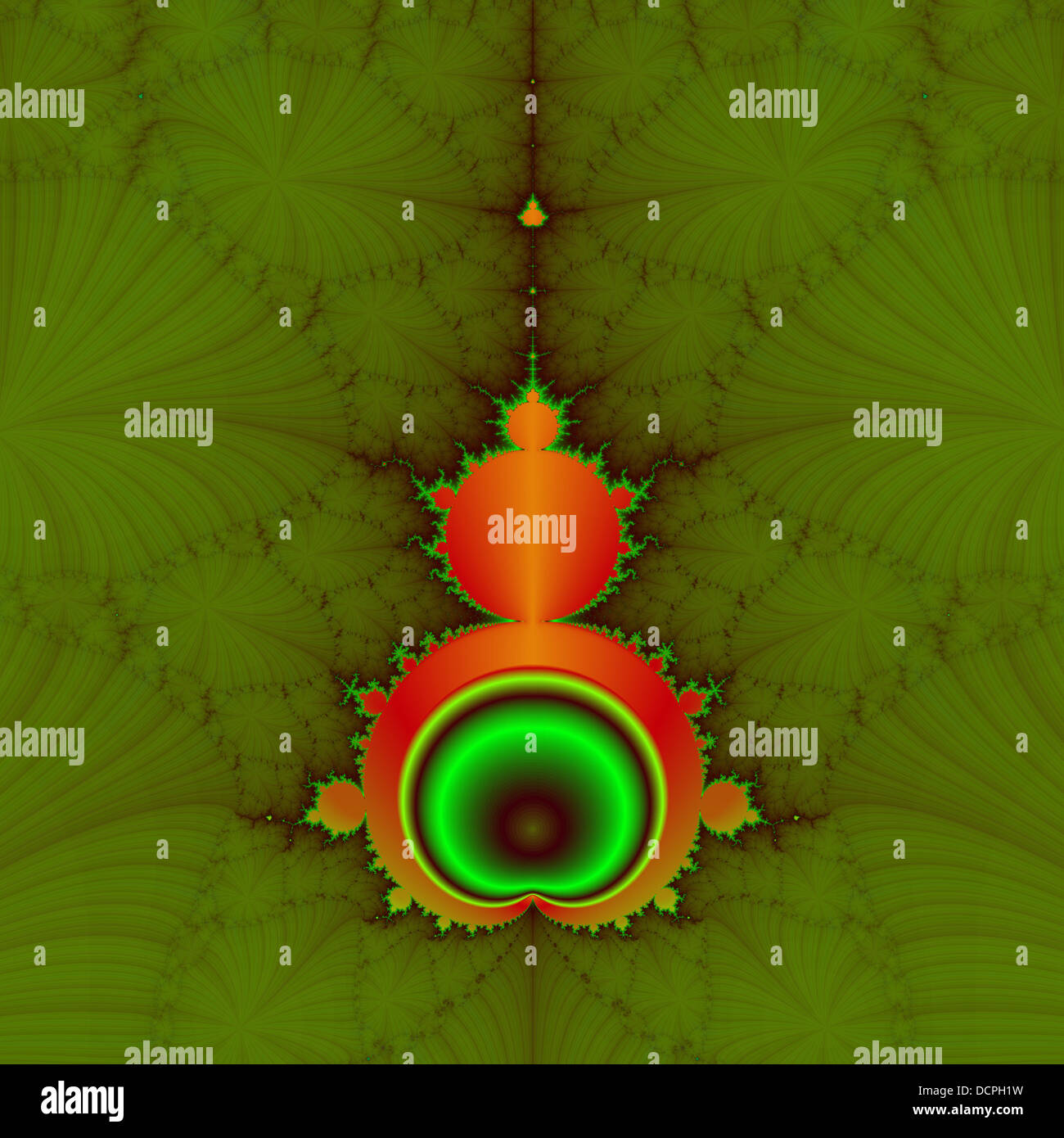 Classic Mandelbrot fractal in orange and green on a green background. - Stock Image