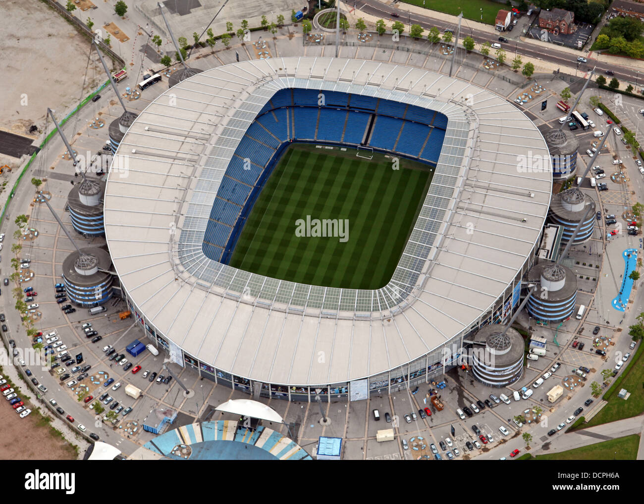 aerial view of Manchester City's football ground Etihad Stadium formerly The City of Manchester Stadium - Stock Image