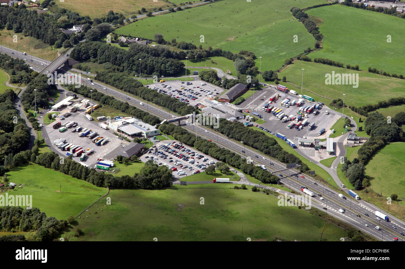 aerial view of Moto Birch Services on the M62 near Manchester - Stock Image
