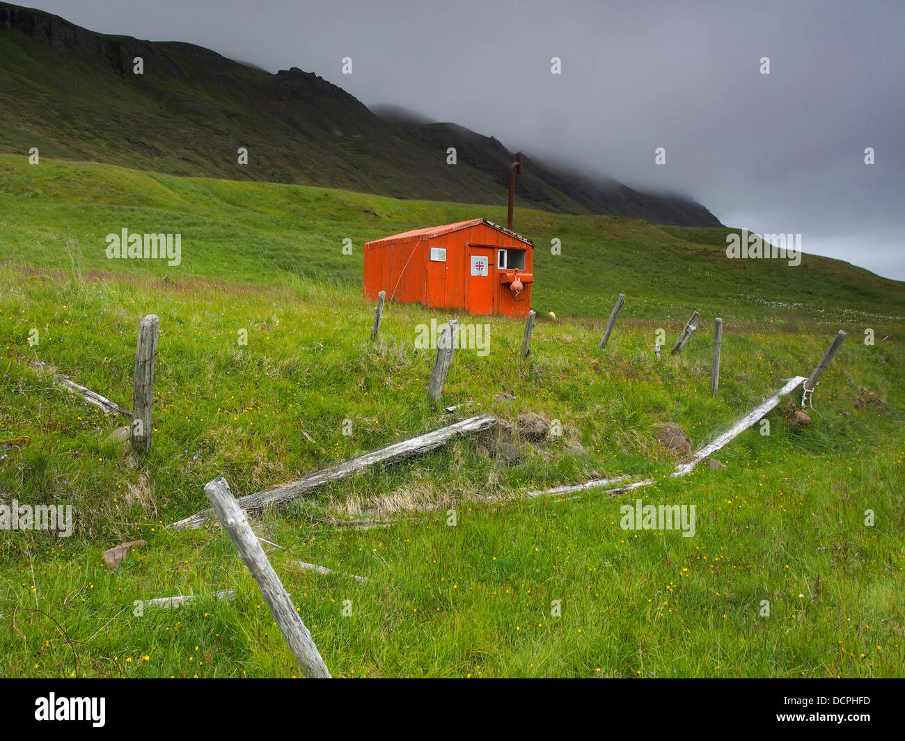 Emergency hut, Brunavík, Iceland - Stock Image