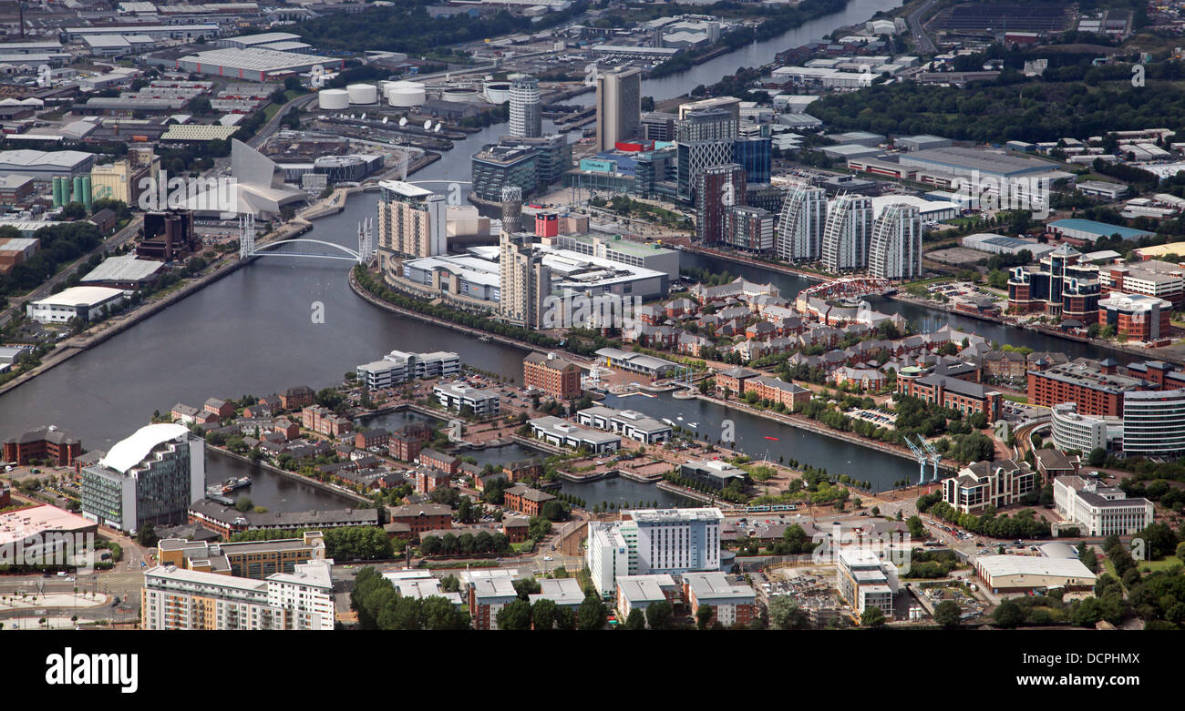 aerial view of Salford Quays in Manchester - Stock Image