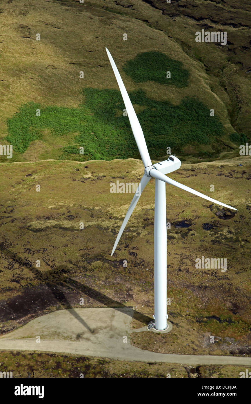 a solitary wind turbine on the Pennines - Stock Image