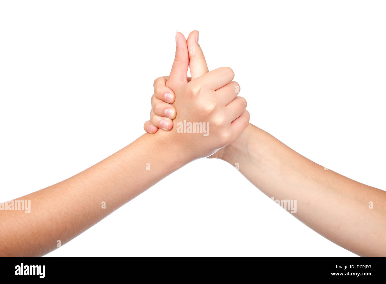 two hands teenager, holds his thumb up. Teamwork. Symbol for suc Stock Photo