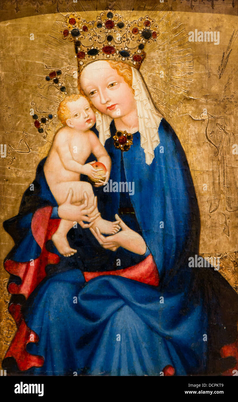 15th century  -  Virgin and Child holding an Apple, second half of the 15th century Philippe Sauvan-Magnet / Active - Stock Image