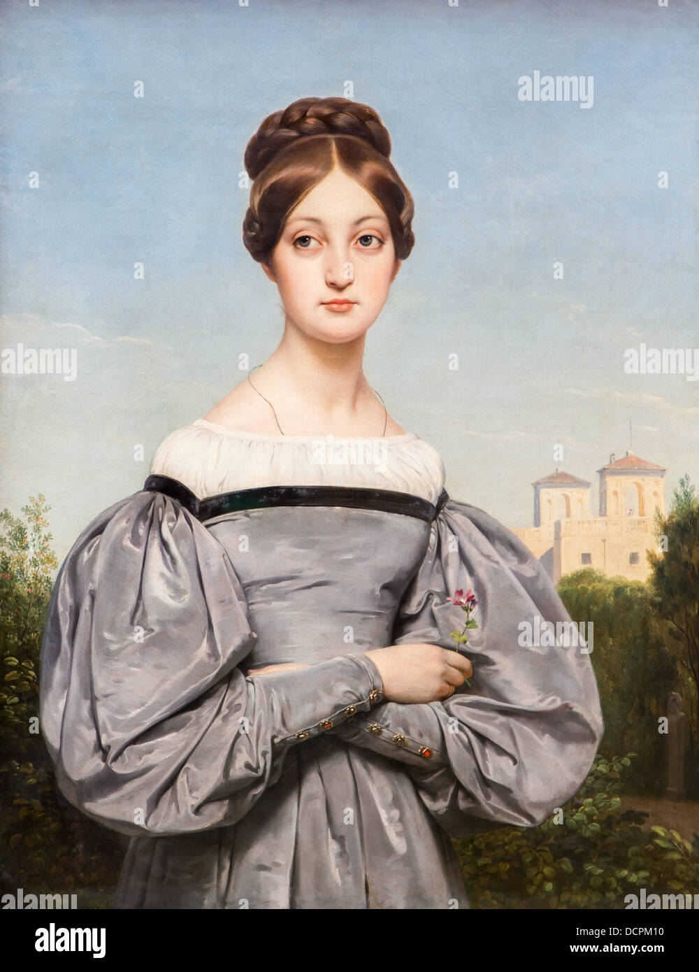 19th century  -  Portrait of Louise Vernet, vers 1850 - Horace Vernet Philippe Sauvan-Magnet / Active Museum - Stock Image