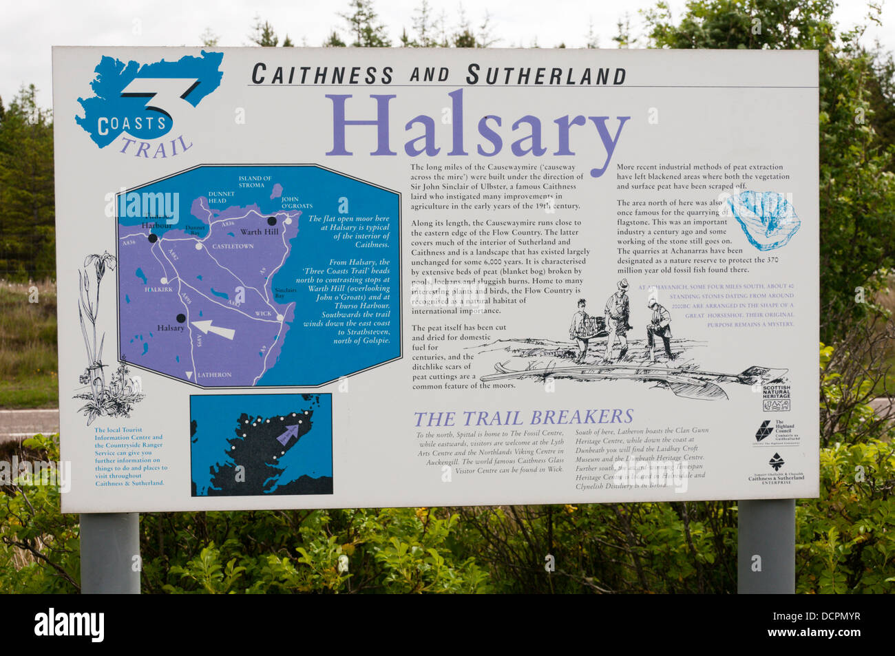 A sign at Halsary in Caithness on the Three 3 Coasts Trail - Stock Image