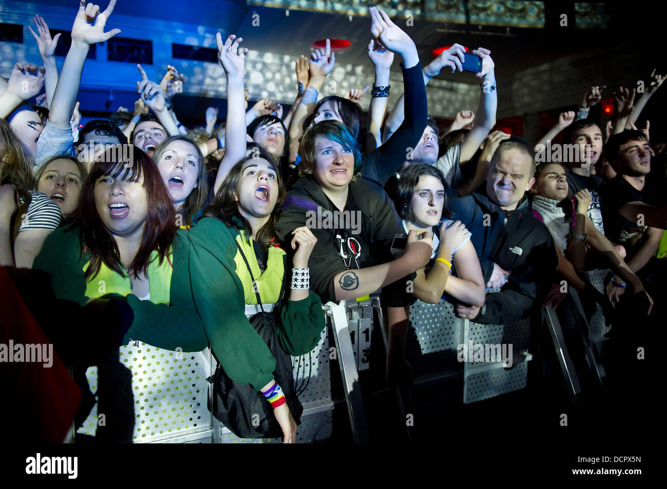 Fans of Rise Against performing live at Brixton Academy London, England 09.11.11 - Stock Image
