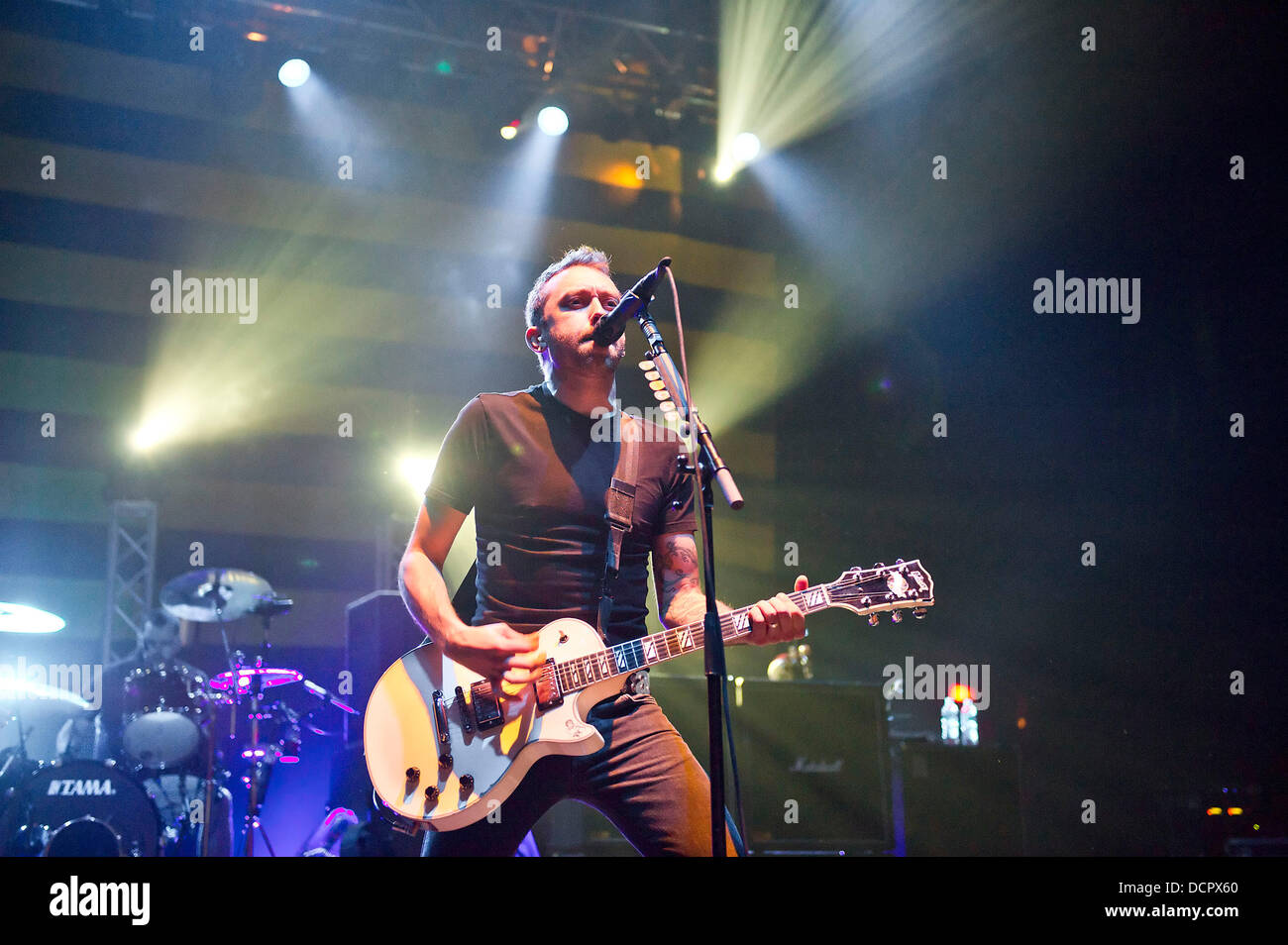 Tim McIlrath of Rise Against performing live at Brixton Academy London, England 09.11.11 - Stock Image