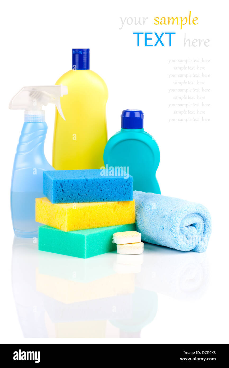 Plastic detergent bottles with sponges - Stock Image