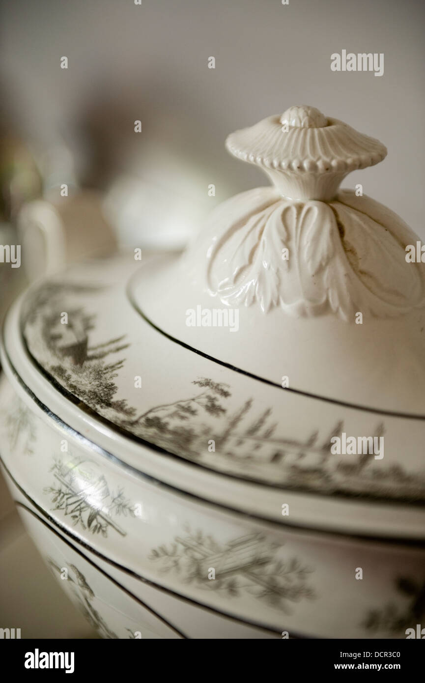 Close up of an antique china vegetable dish - Stock Image