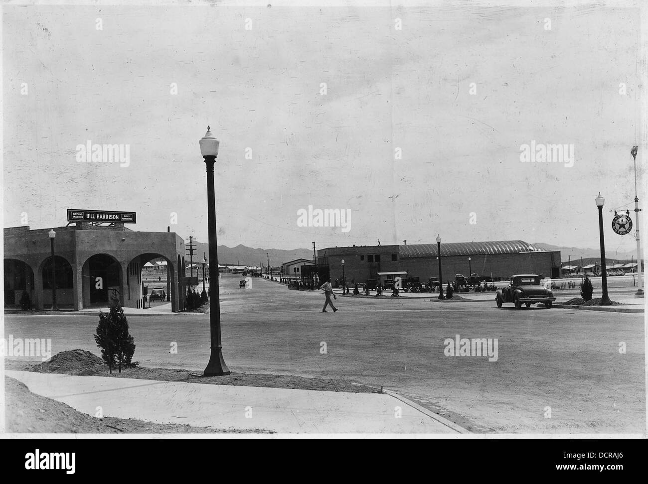 View looking across Nevada highway eastward through Arizona Street showing theater building in course of... - - - Stock Image