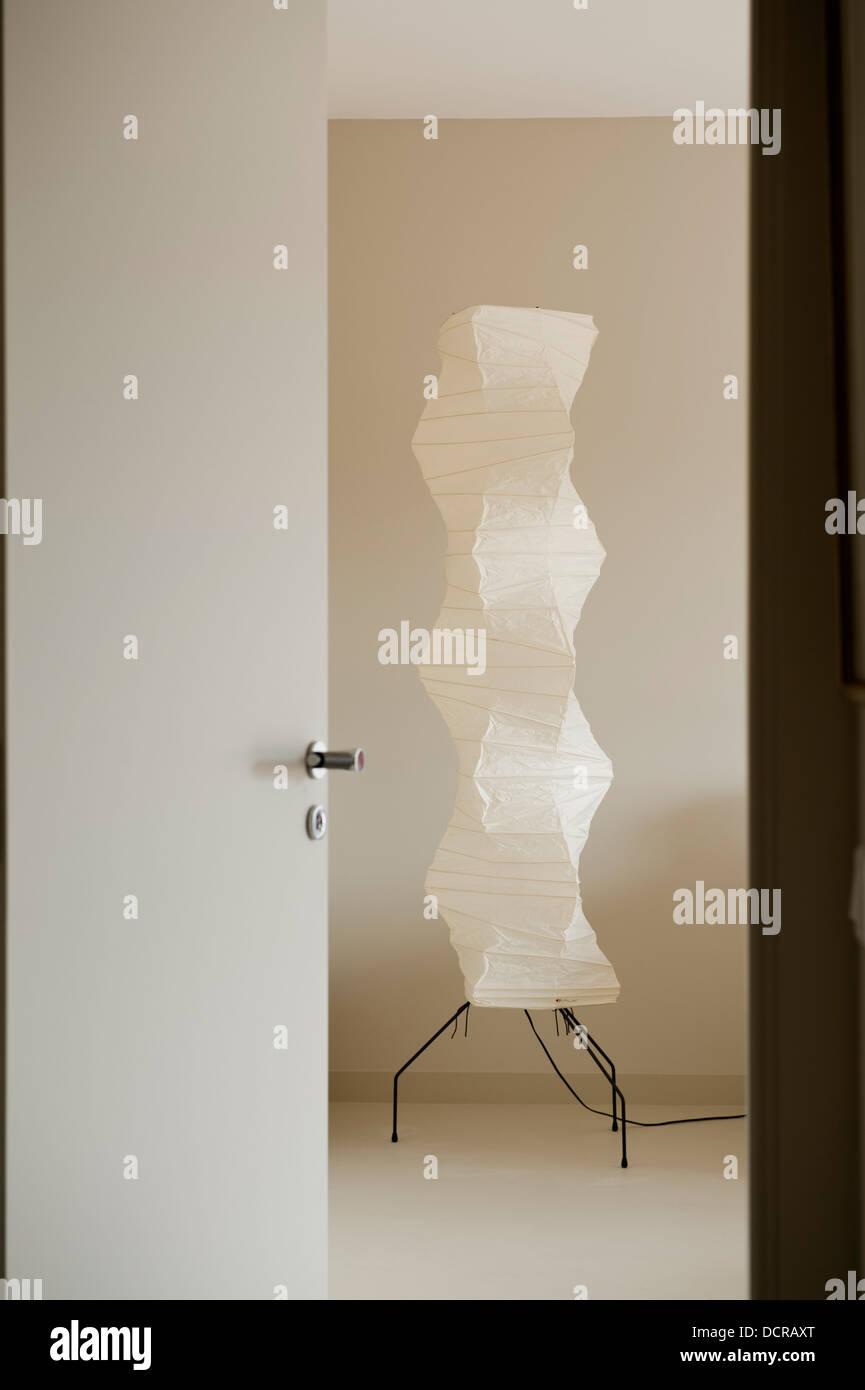 Akari lamp light in minimal interior - Stock Image