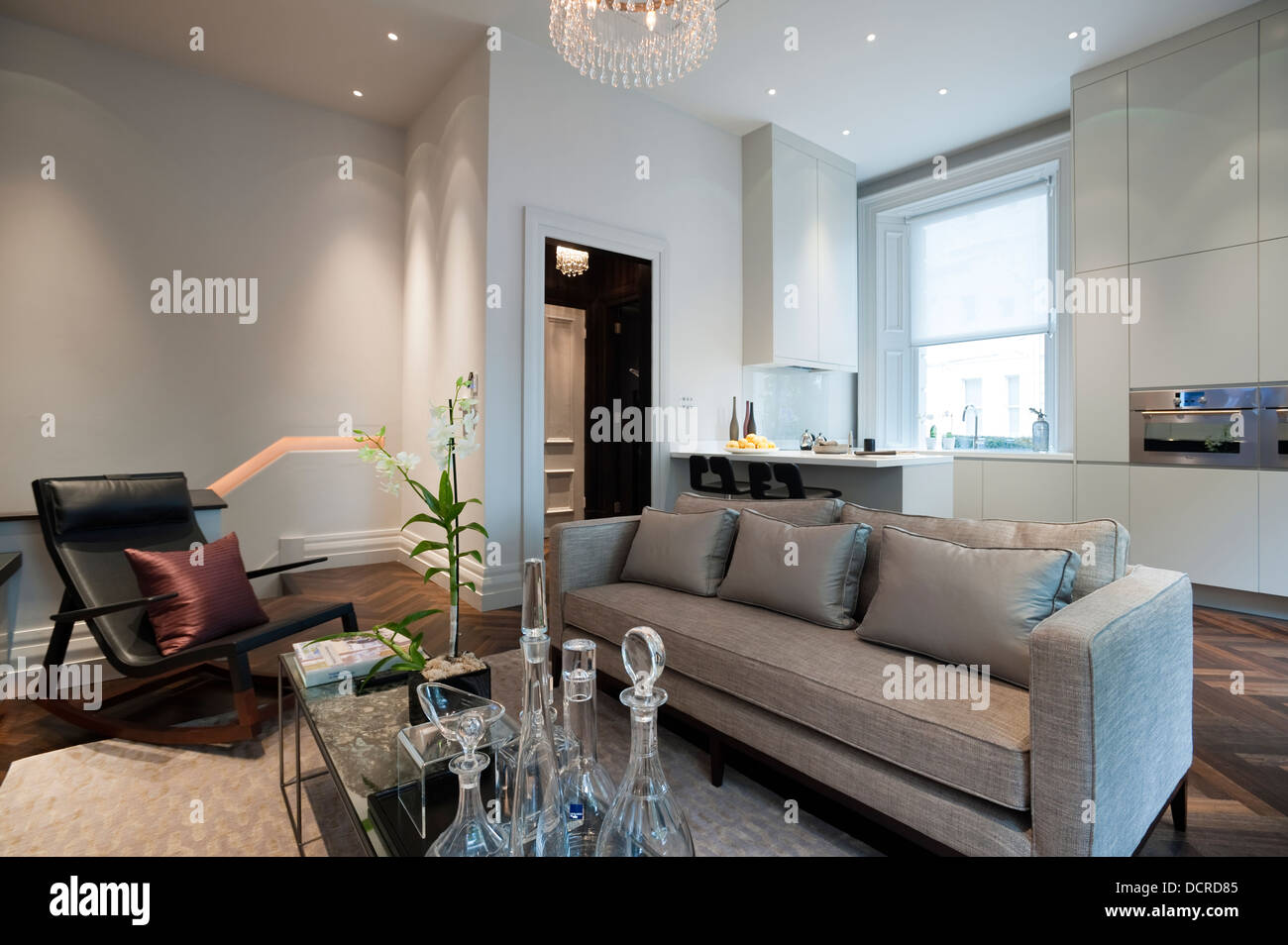Seating Area With Open Plan Kitchen In London City Apartment