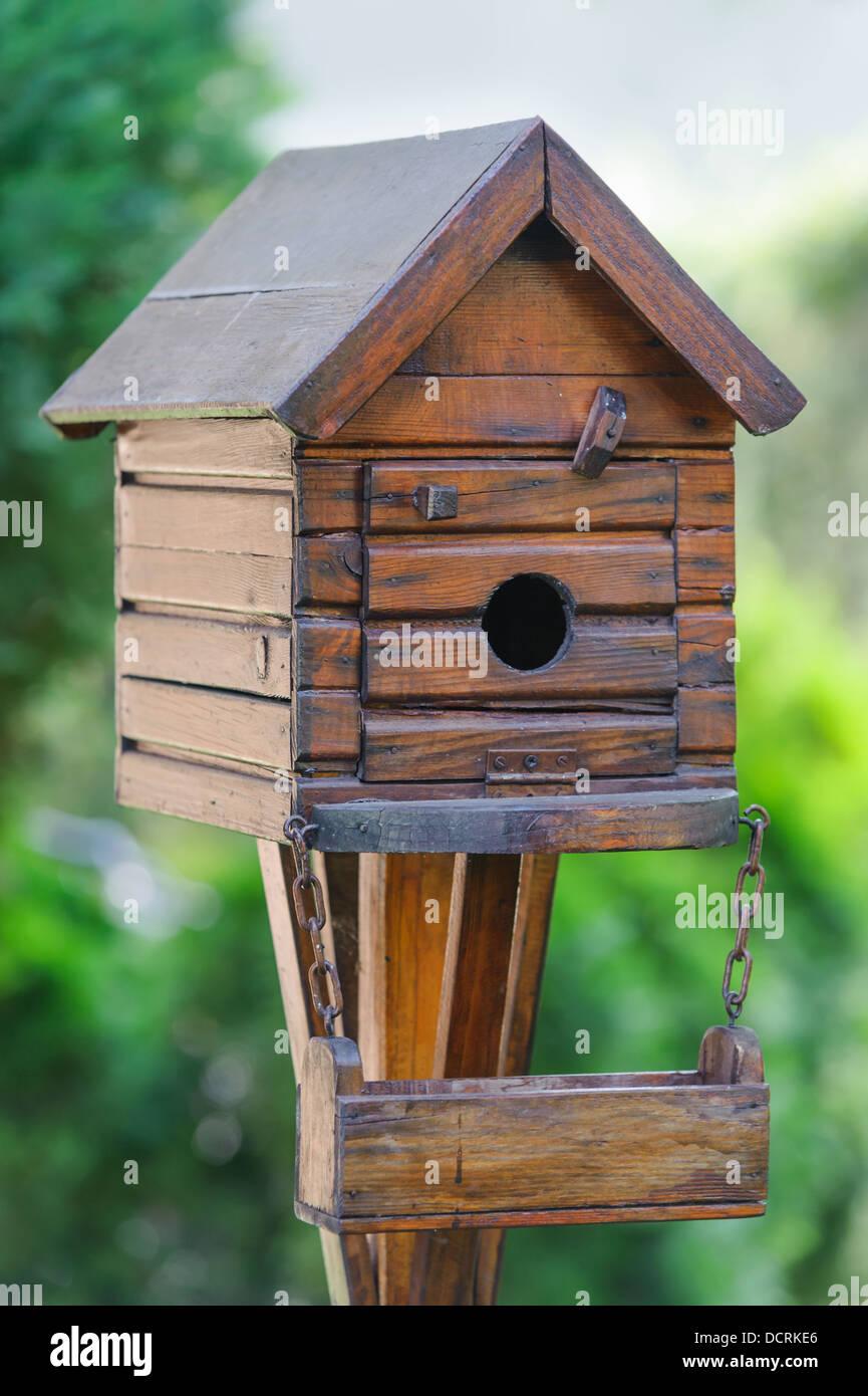 Little bird house at the garden - Stock Image