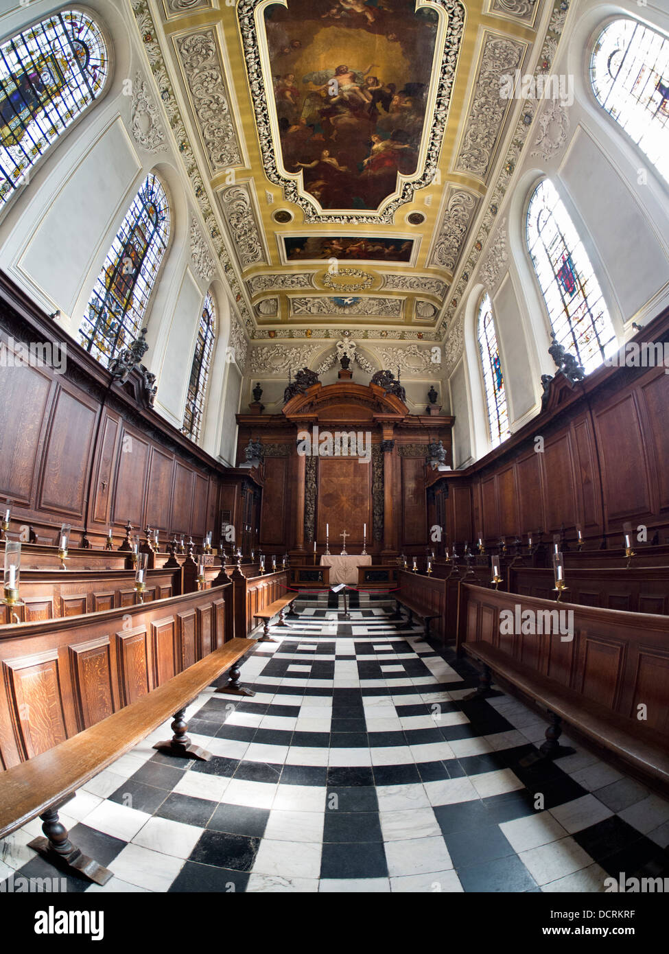 The Chapel of Trinity College, Oxford - fisheye view 8 - Stock Image