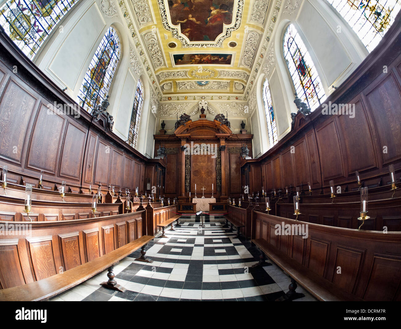 The Chapel of Trinity College, Oxford - fisheye view 7 - Stock Image