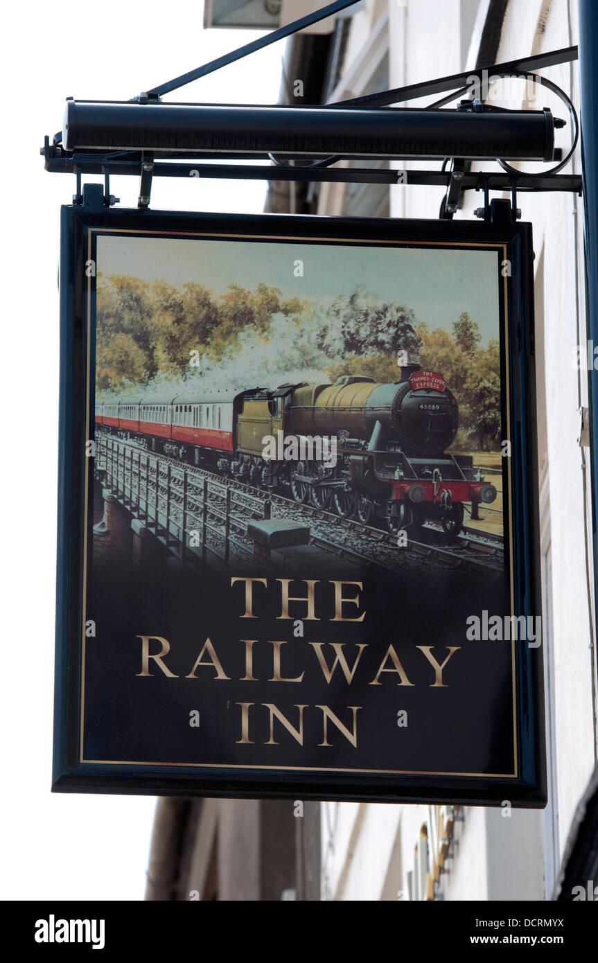 The Railway Inn sign, Leamington Spa, UK - Stock Image