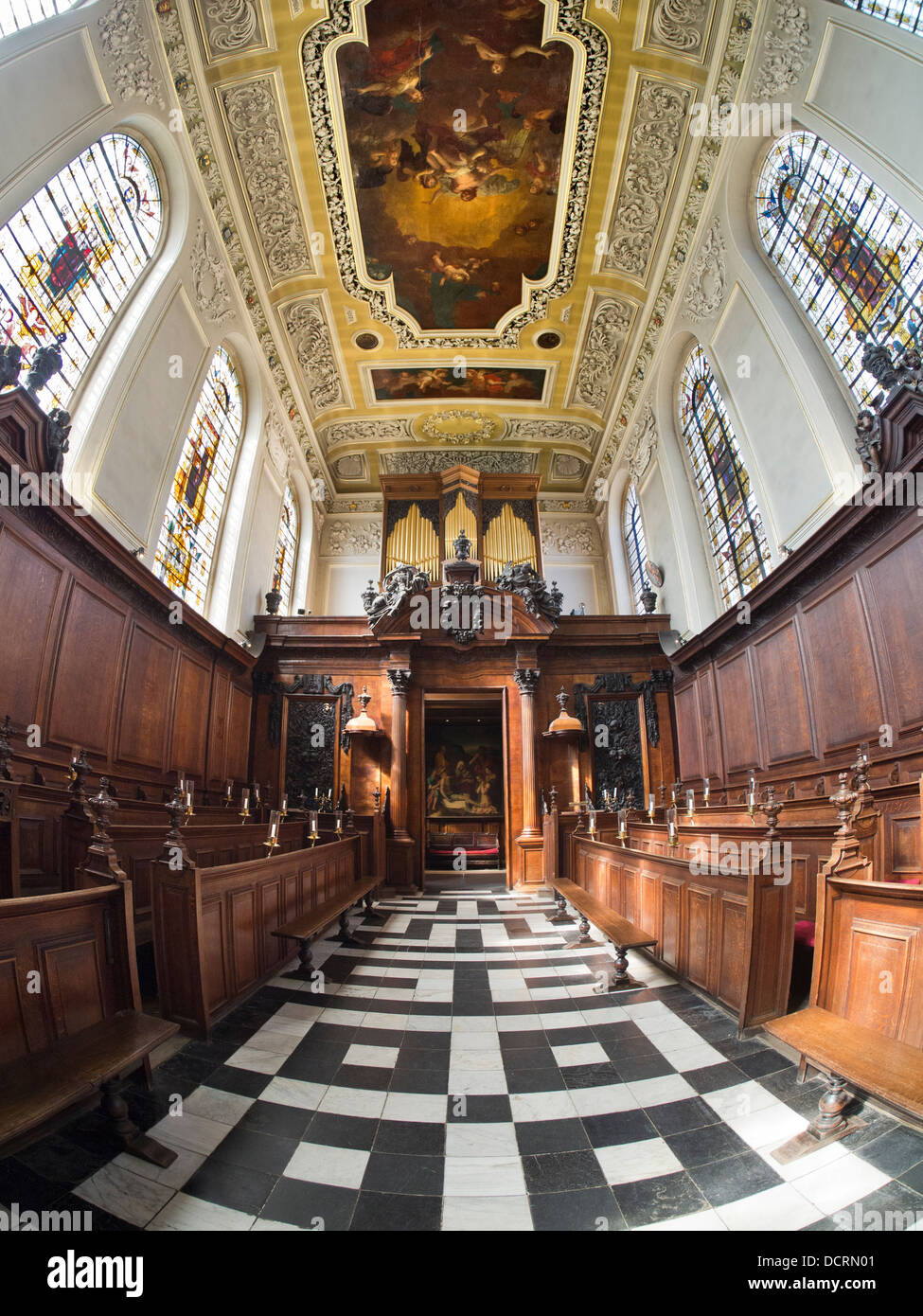 The Chapel of Trinity College, Oxford - fisheye view 5 - Stock Image