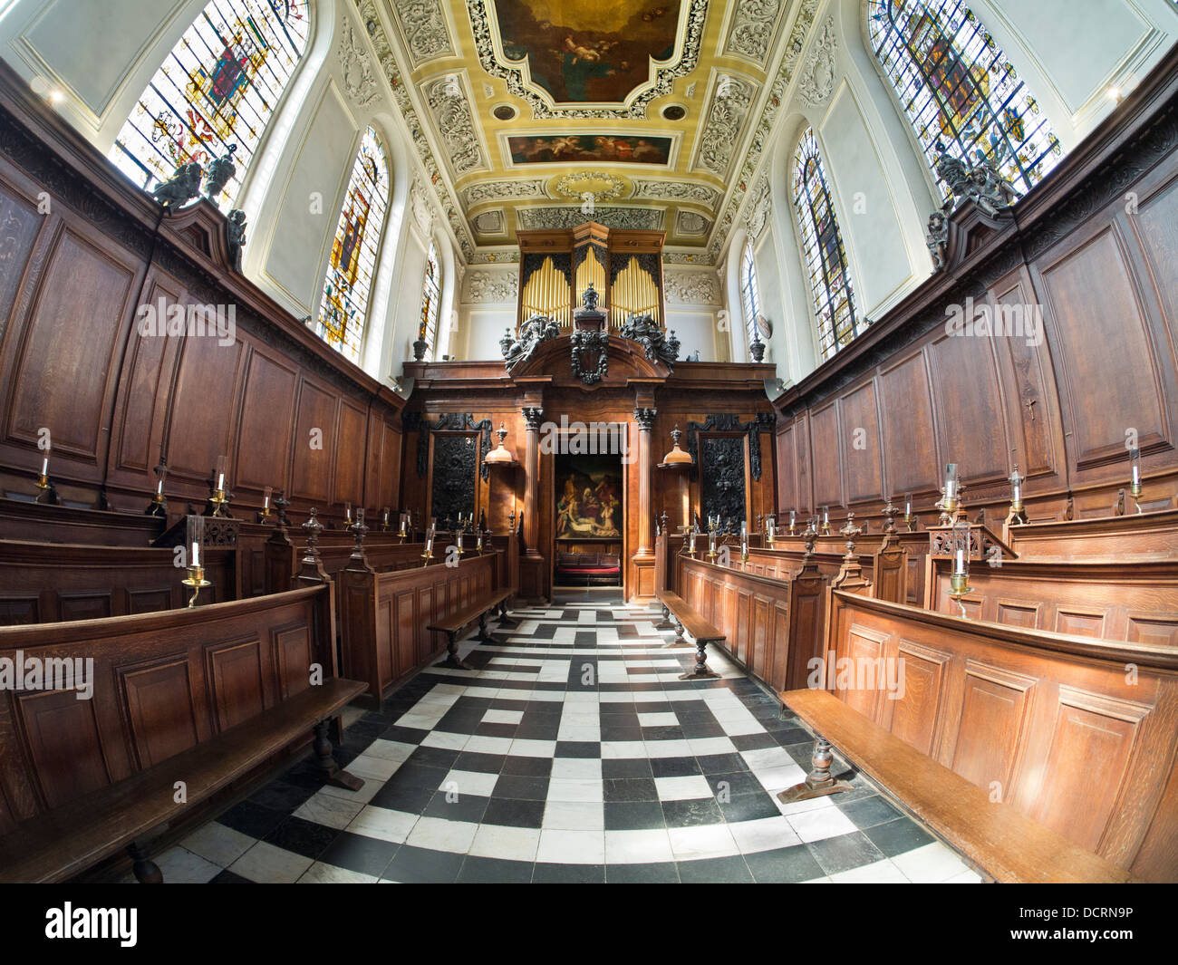 The Chapel of Trinity College, Oxford - fisheye view 4 - Stock Image