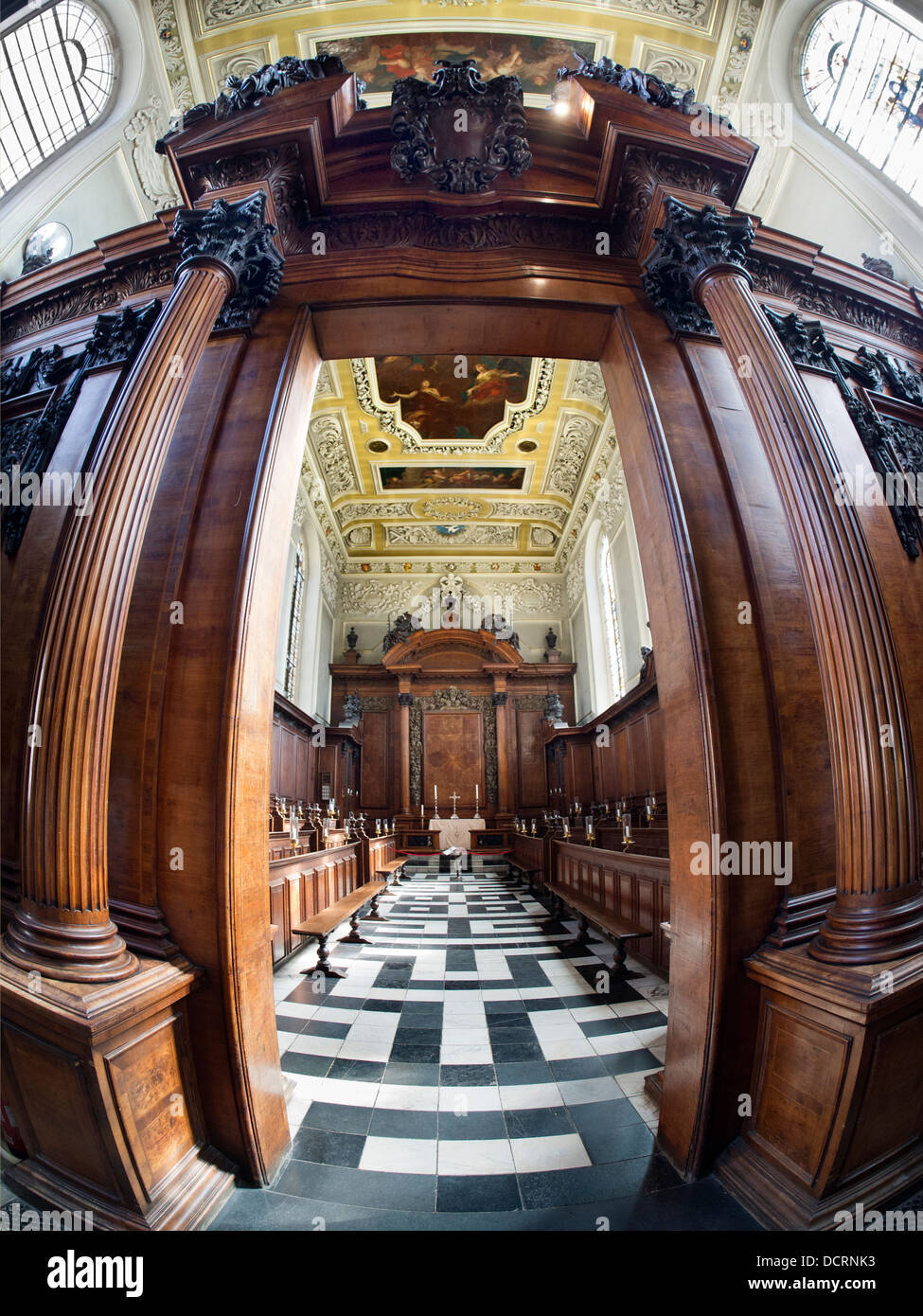 The Chapel of Trinity College, Oxford - fisheye view 3 - Stock Image