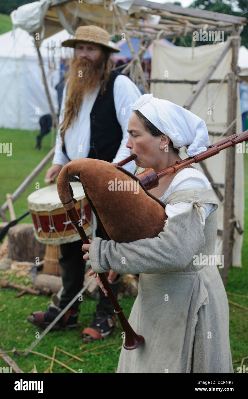 Medieval music at Scotland's Festival of History at Chatelherault Country Park near Hamilton in South Lanarkshire - Stock Image