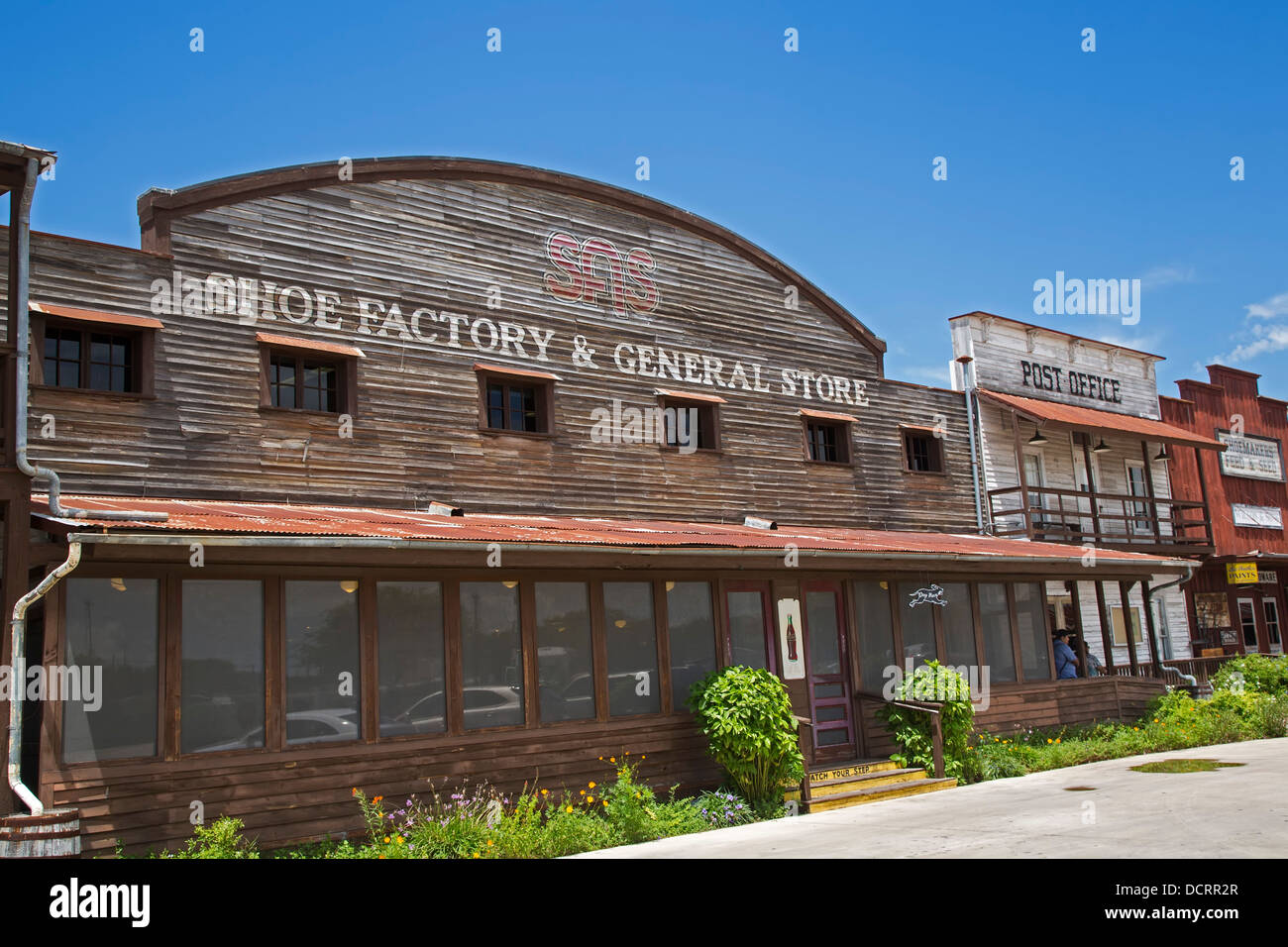 San Antonio, Texas - The SAS shoe factory and general store. - Stock Image