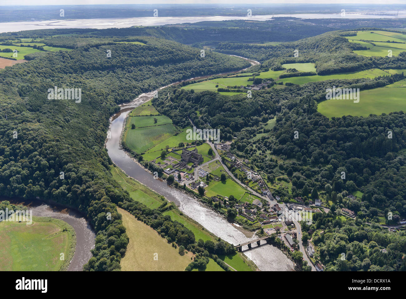 Aerial photograph of the Wye Valley at Tintern Abbey - Stock Image