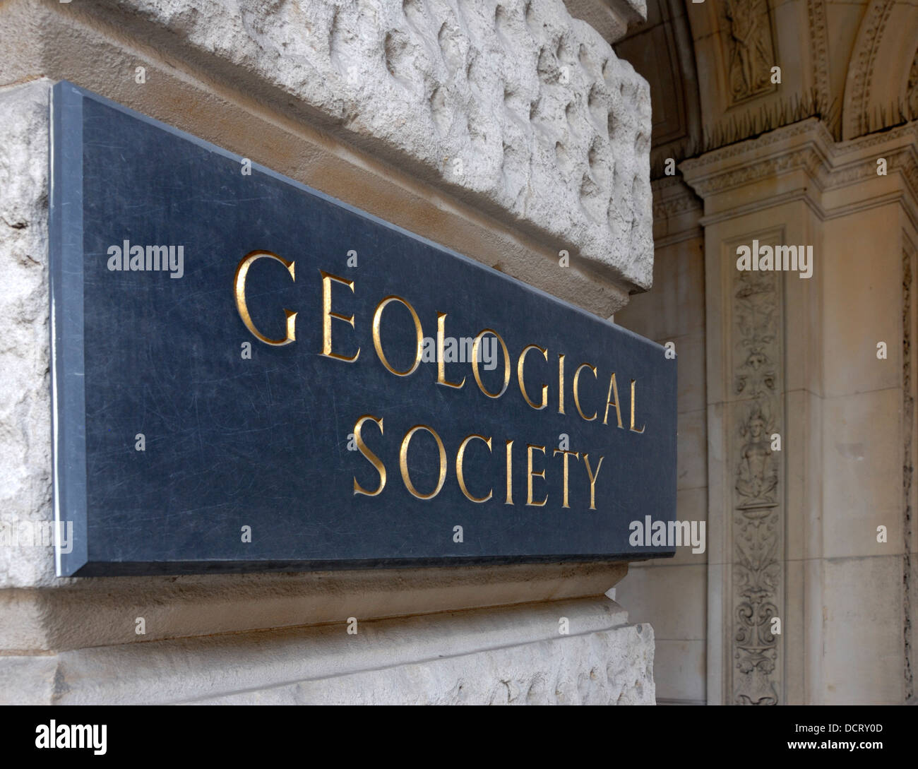 London, England, UK. Burlington House on Piccadilly. The Geological Society - name plaque - Stock Image